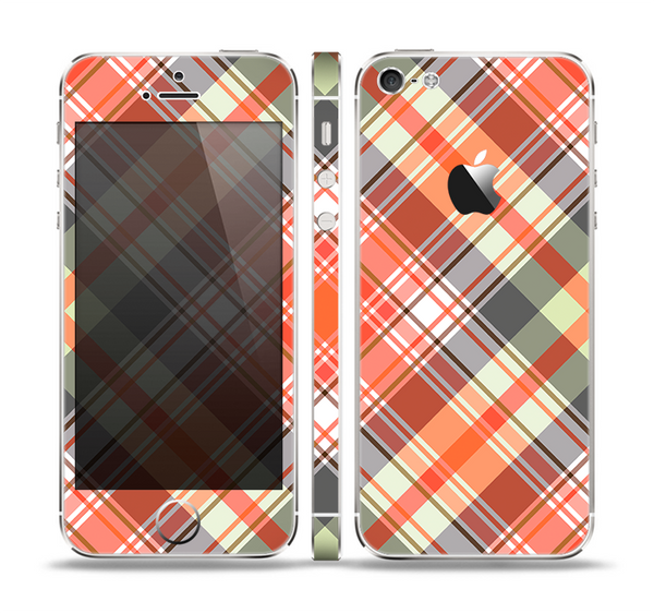 The Gray & Bright Orange Plaid Layered Pattern V5 Skin Set for the Apple iPhone 5