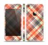 The Gray & Bright Orange Plaid Layered Pattern V5 Skin Set for the Apple iPhone 5s
