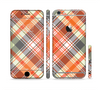 The Gray & Bright Orange Plaid Layered Pattern V5 Sectioned Skin Series for the Apple iPhone 6