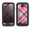 The Gray & Bright Pink Plaid Layered Pattern V5 Samsung Galaxy S4 LifeProof Nuud Case Skin Set
