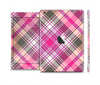 The Gray & Bright Pink Plaid Layered Pattern V5 Skin Set for the Apple iPad Mini 4