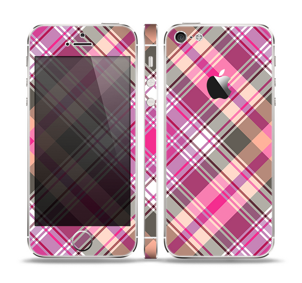 The Gray & Bright Pink Plaid Layered Pattern V5 Skin Set for the Apple iPhone 5