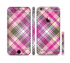 The Gray & Bright Pink Plaid Layered Pattern V5 Sectioned Skin Series for the Apple iPhone 6s Plus
