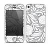The Gray Floral Pattern V3 Skin for the Apple iPhone 4-4s