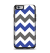 The Gray & Navy Blue Chevron Apple iPhone 6 Otterbox Symmetry Case Skin Set
