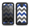 The Gray & Navy Blue Chevron Samsung Galaxy S4 LifeProof Fre Case Skin Set