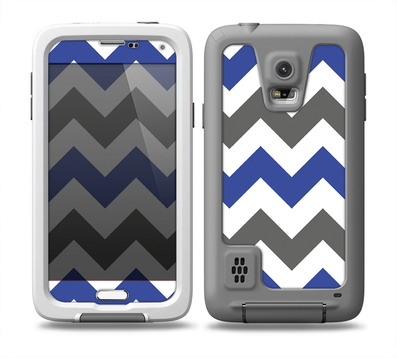 The Gray & Navy Blue Chevron Skin for the Samsung Galaxy S5 frē LifeProof Case