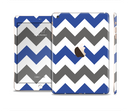 The Gray & Navy Blue Chevron Full Body Skin Set for the Apple iPad Mini 3