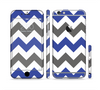 The Gray & Navy Blue Chevron Sectioned Skin Series for the Apple iPhone 6 Plus