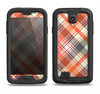 The Gray & Orange Plaid Layered Pattern V5 Samsung Galaxy S4 LifeProof Nuud Case Skin Set