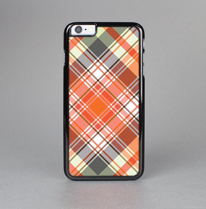 The Gray & Orange Plaid Layered Pattern V5 Skin-Sert for the Apple iPhone 6 Skin-Sert Case