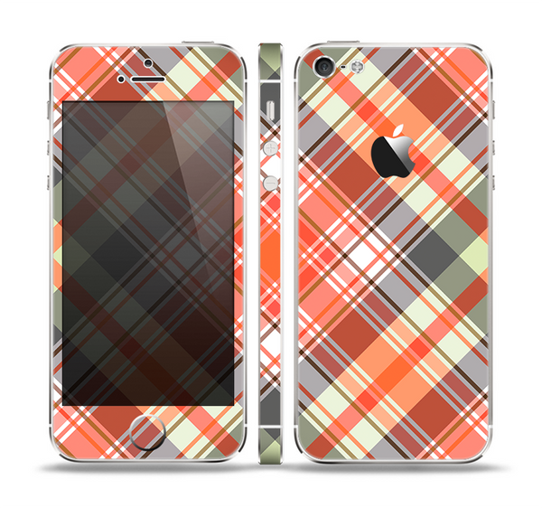 The Gray & Orange Plaid Layered Pattern V5 Skin Set for the Apple iPhone 5
