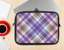 The Gray & Purple Plaid Layered Pattern V5 Ink-Fuzed NeoPrene MacBook Laptop Sleeve