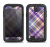 The Gray & Purple Plaid Layered Pattern V5 Samsung Galaxy S4 LifeProof Fre Case Skin Set
