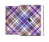 The Gray & Purple Plaid Layered Pattern V5 Skin Set for the Apple iPad Mini 4