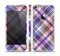 The Gray & Purple Plaid Layered Pattern V5 Skin Set for the Apple iPhone 5