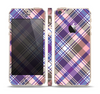 The Gray & Purple Plaid Layered Pattern V5 Skin Set for the Apple iPhone 5s