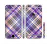 The Gray & Purple Plaid Layered Pattern V5 Sectioned Skin Series for the Apple iPhone 6s Plus