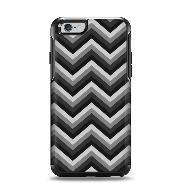 The Gray Toned Layered CHevron Pattern Apple iPhone 6 Otterbox Symmetry Case Skin Set