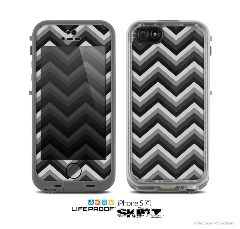 The Gray Toned Layered Chevron Pattern Skin for the Apple iPhone 5c LifeProof Case