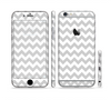The Gray & White Chevron Pattern Sectioned Skin Series for the Apple iPhone 6 Plus