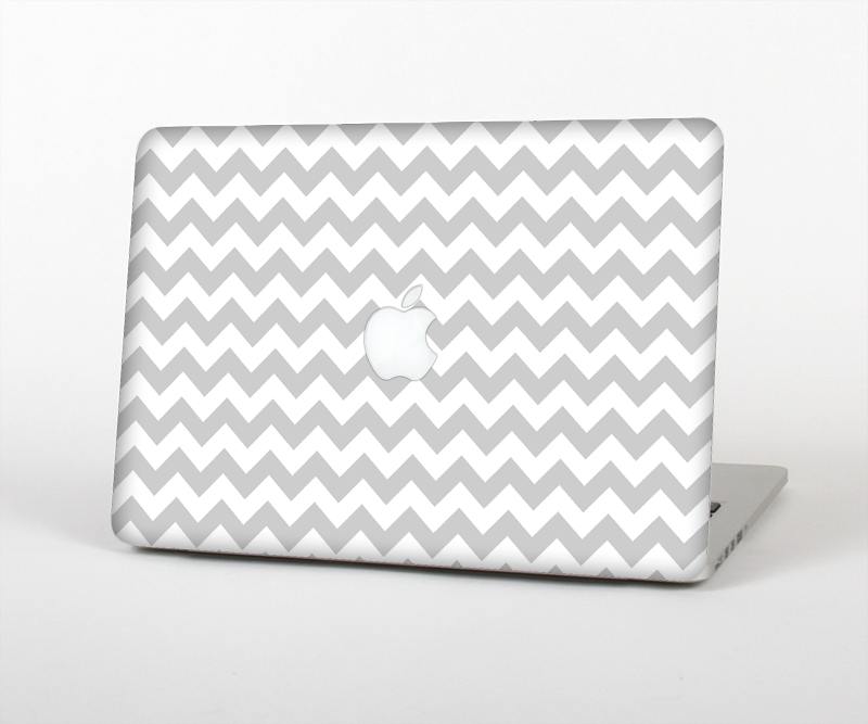 "The Gray & White Chevron Pattern Skin Set for the Apple MacBook Pro 15"" with Retina Display"