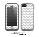 The Gray & White Chevron Pattern Skin for the Apple iPhone 5c LifeProof Case