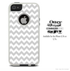 The Gray & White Chevron Skin For The iPhone 4-4s or 5-5s Otterbox Commuter Case