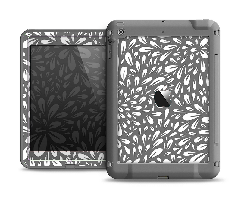 The Gray & White Floral Sprout Apple iPad Air LifeProof Fre Case Skin Set