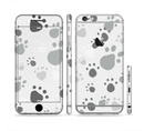 The Gray & White Large Paw Prints Sectioned Skin Series for the Apple iPhone 6s