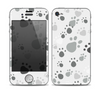 The Gray & White Large Paw Prints Skin for the Apple iPhone 4-4s