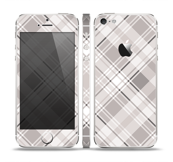 The Gray & White Plaid Layered Pattern V5 Skin Set for the Apple iPhone 5