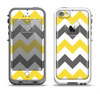 The Gray & Yellow Chevron Pattern Apple iPhone 5-5s LifeProof Fre Case Skin Set