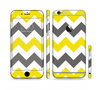 The Gray & Yellow Chevron Pattern Sectioned Skin Series for the Apple iPhone 6 Plus