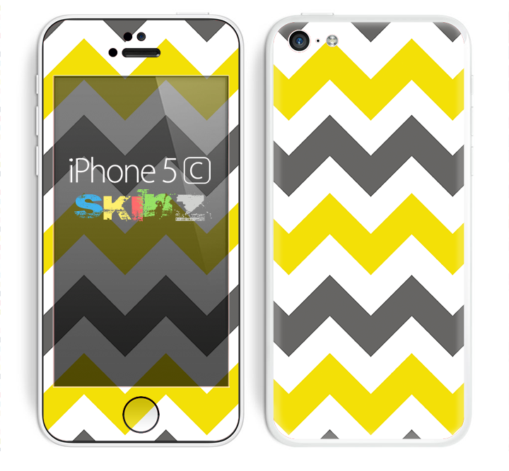 The Gray & Yellow Chevron Pattern Skin for the Apple iPhone 5c