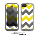 The Gray & Yellow Chevron Pattern Skin for the Apple iPhone 5c LifeProof Case