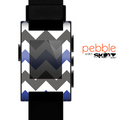 The Gray & Navy Blue Chevron Skin for the Pebble SmartWatch