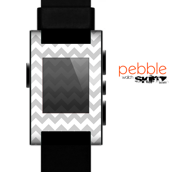 The Gray & White Chevron Pattern Skin for the Pebble SmartWatch