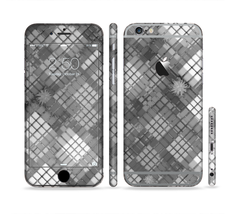 The Grayscale Layer Checkered Pattern Sectioned Skin Series for the Apple iPhone 6s