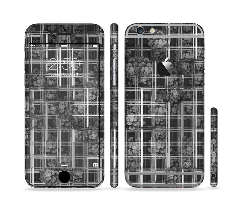 The Grayscale Lattice and Flowers Sectioned Skin Series for the Apple iPhone 6s
