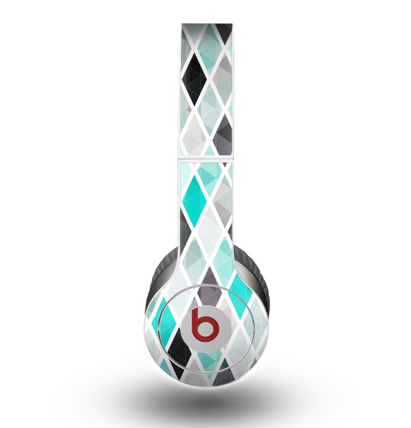 The Graytone Diamond Pattern with Teal Highlights Skin for the Beats by Dre Original Solo-Solo HD Headphones