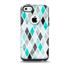 The Graytone Diamond Pattern with Teal Highlights Skin for the iPhone 5c OtterBox Commuter Case
