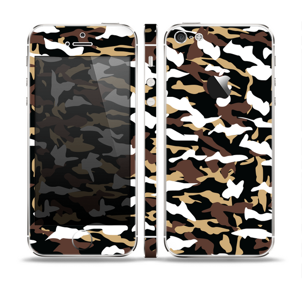 The Green-Tan & White Traditional Camouflage Skin Set for the Apple iPhone 5
