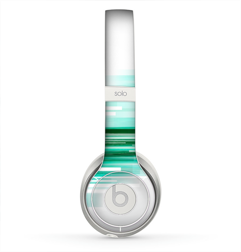 The Green Abstract Vector HD Lines Skin for the Beats by Dre Solo 2 Headphones