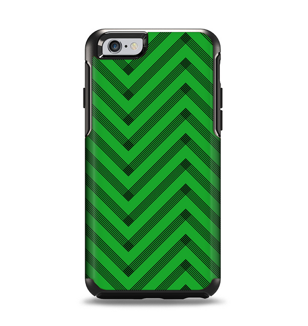 The Green & Black Sketch Chevron Apple iPhone 6 Otterbox Symmetry Case Skin Set