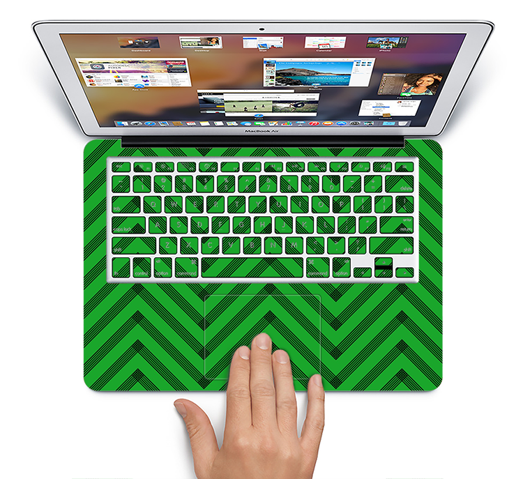 "The Green & Black Sketch Chevron Skin Set for the Apple MacBook Pro 15"" with Retina Display"