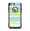 The Green & Blue Leveled Chevron Pattern Apple iPhone 6 Otterbox Commuter Case Skin Set
