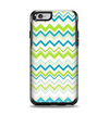 The Green & Blue Leveled Chevron Pattern Apple iPhone 6 Otterbox Symmetry Case Skin Set