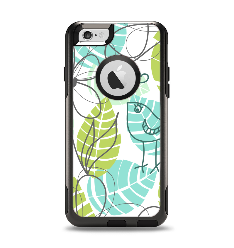 The Green & Blue Subtle Seamless Leaves Apple iPhone 6 Otterbox Commuter Case Skin Set