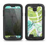 The Green & Blue Subtle Seamless Leaves Samsung Galaxy S4 LifeProof Fre Case Skin Set